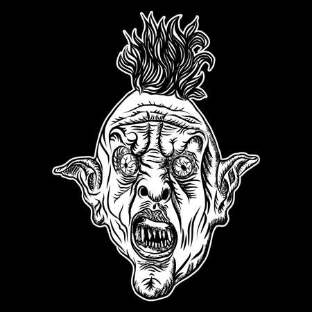 Devil head illustration. Punk with mohawk. Vector.