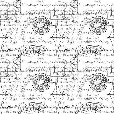 Textura matemática sin fisuras con fórmulas y gráficas, funciones, cálculos y operaciones de matemáticas, álgebra y geometría escritas a mano. Vector. Ilustración de vector