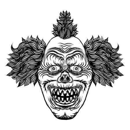 Scary cartoon clown illustration. Blackwork adult flesh tattoo concept. Horror movie zombie clown face character. Vector.