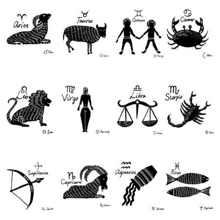 El conjunto del zodíaco. 12 constelaciones del horóscopo con símbolos conectados, dibujos y planetas con nombres. Vector.