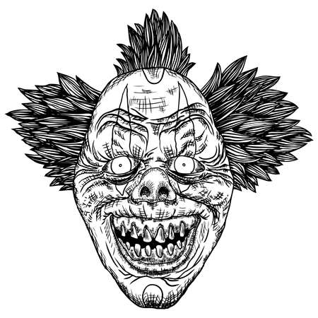 Scary cartoon clown illustration. Blackwork adult flesh tattoo concept. Horror movie zombie clown face character. Vector. Banco de Imagens - 116844078