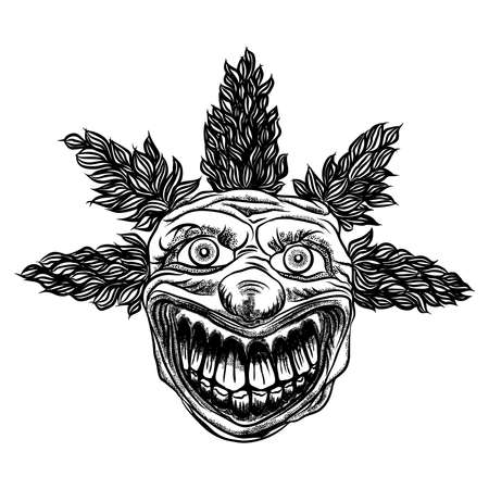 Scary clown head concept of circus horror film character. Laughing angry insane joker head, front face of horror and crazy maniac. Evil smiling character. Blackwork adult flesh tattoo concept. Vector. Иллюстрация