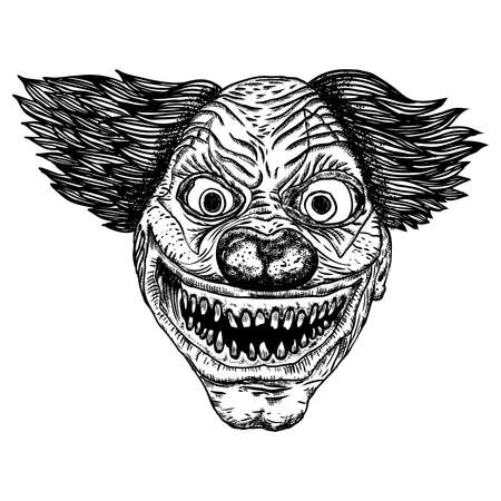 Scary cartoon clown illustration. Blackwork adult flesh tattoo concept. Horror movie zombie clown face character. Vector. Banco de Imagens - 116231366