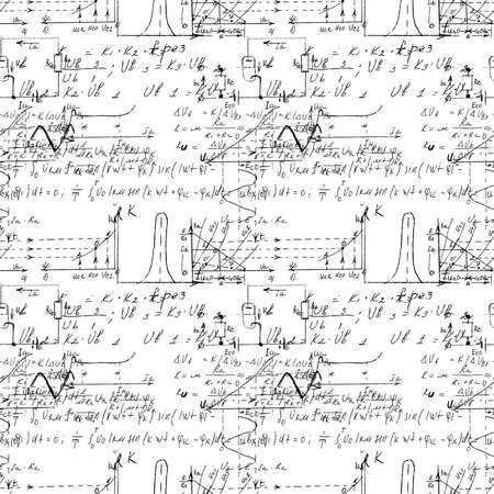 Math and Geometry seamless pattern with handwriting and drawing of various graph solutions. Geometry and mathematics subjects graphics. College lectures. Vector. Illustration
