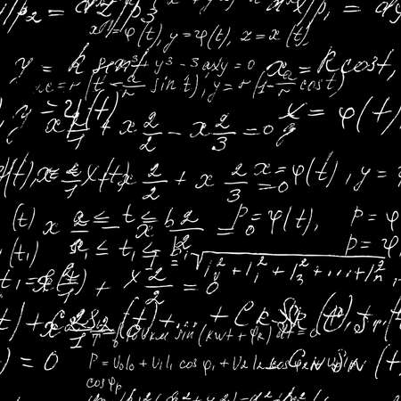 Seamless math black board with handwritten mathematical and physics formulas and proves. Vector