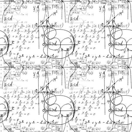 Mathematische nahtlose Textur mit handgeschriebenen Mathematik-, Algebra- und Geometrieformeln und Grafiken, Funktionen, Berechnungen und Operationen. Vektor.