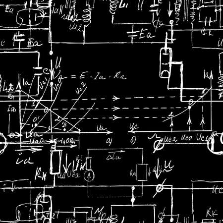 Scientific seamless texture with handwritten formulas and electronic components. Drawing of various graph solutions on chalk boards. Physics and schematic diagram and circuit of the devices. Vector.