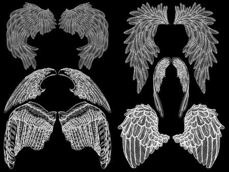 Angel or bird wings set. Sketch isolated vector illustration. Stock Illustratie