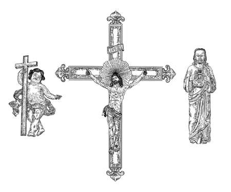 Depiction of child Jesus Christ son of God, then crucifixion on cross for people sins at mount Golgotha and resurrection. Hand drawn art sketch. Vector. 向量圖像