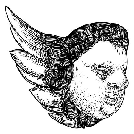 Cherub with wings. Winged baby angel isolated on white background. Hand drawn. Religious symbol of Christianity. Vector. 写真素材 - 116844119