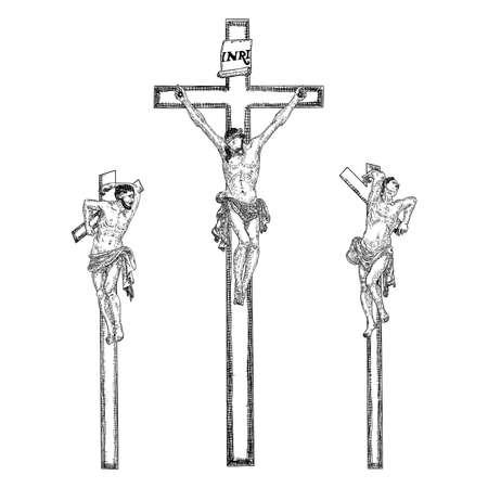 Jesus am Kreuz vom Berg Golgatha. Handgezeichnete Kunstskizze. Vektor. Vektorgrafik