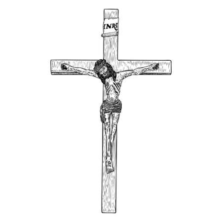 Jesus on the cross, son of God crucifixion, Hand drawn sketch before good Friday. Vector. Illustration