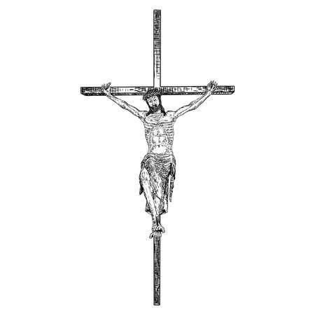 Gesù sulla croce, crocifissione del figlio di Dio, schizzo disegnato a mano prima del venerdì santo. Vettore.