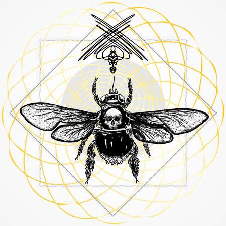 Bellissimo insetto regina delle api da miele disegnato a mano. Arte dello scarabeo del tatuaggio in stile vintage di Spirit Animal Honeybee Totem e simbolo di rinascita con teschio umano. Incisione che simboleggia il sole e la Dea. Vettore.