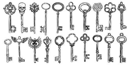 Big set of retro keys, vintage style. Key collection illustration for antiques decoration.  Ornamental medieval collection. Hand drawn old realistic design Vector. Иллюстрация