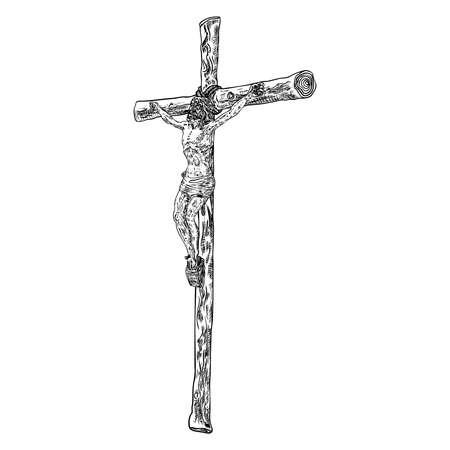 Jesus on cross from mount Golgotha. Hand drawn art sketch. Vector. Illustration