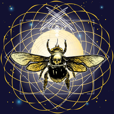 Bee mystical tattoo. Hand drawn mythology symbol and insect. Sketch of bug alchemy, religion, occultism on sacred geometry art. Reincarnation goddess with human skull. Vector.