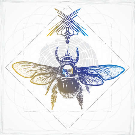 Bee body tattoo style on sacred geometry. Beautiful goddess honeybee boho t-shirt design with wings and human skull symbol of freedom. Woman style winged bumblebee god of reincarnation and rebirth.