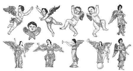 Conjunto de Ángeles con alas. Volar o de pie y tocar la trompeta. Símbolo religioso del cristianismo vector dibujado a mano. Ilustración de vector