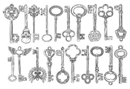 Set of hand drawn antique keys. Sketch style of vintage key on white background. Old design illustration. Vector.