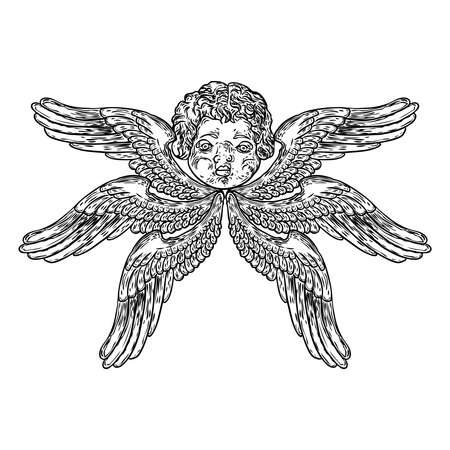 Cherub with wings. Winged baby angel isolated on white background. Hand drawn. Religious symbol of Christianity. Vector.