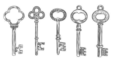 Big set of retro keys, vintage style. Key collection illustration for antiques decoration.  Ornamental medieval collection. Hand drawn old realistic design Vector. Иллюстрация