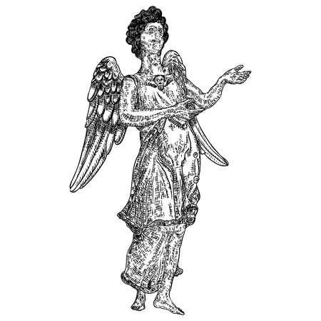 Ange avec des ailes, volant ou debout. Symbole religieux du christianisme vecteur dessiné à la main.