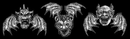 Ensemble de têtes de diable avec de grandes cornes ou bois de démon et des crocs pointus. Représentation d'anges déchus de Satan ou de Lucifer avec des ailes de vampire. Gargouille comme créature bête fantastique chimère avec visage effrayant Vector.