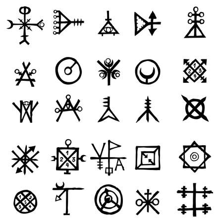 Mystic set with magic circles, pentagram and imaginary chakras symbols. Collection of icons with witchcraft and occult hand writing letters. Esoteric concept. Vector  Illustration