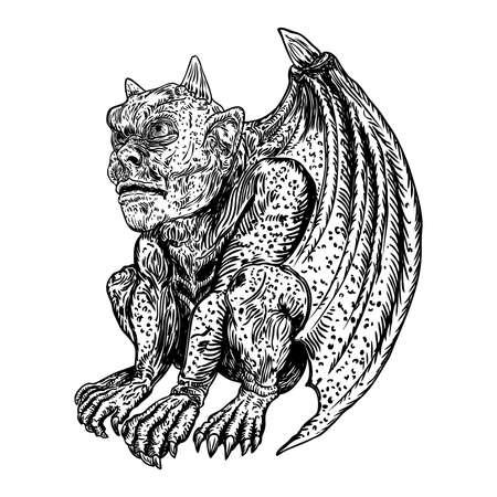 Anciennes créatures mythologiques animaux avec des ailes de chauve-souris. et corne. Gargouille mythique aux crocs acérés, dents et ongles ou griffes en position assise. Croquis dessiné à la main gravé. Vecteur.