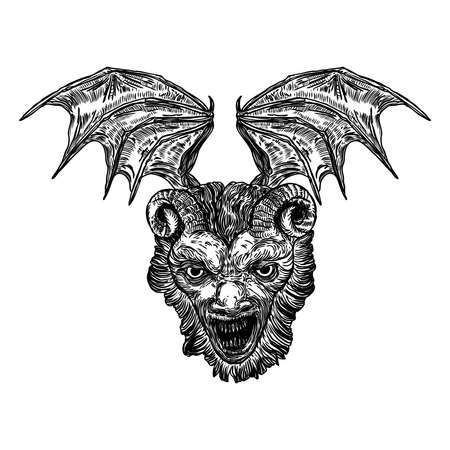Devil head with big demon horns or antlers and sharp fangs. Satan or Lucifer fallen angel depiction with vampire wings. Gargoyle human like chimera fantastic beast creature with scary face. Vector.  Çizim
