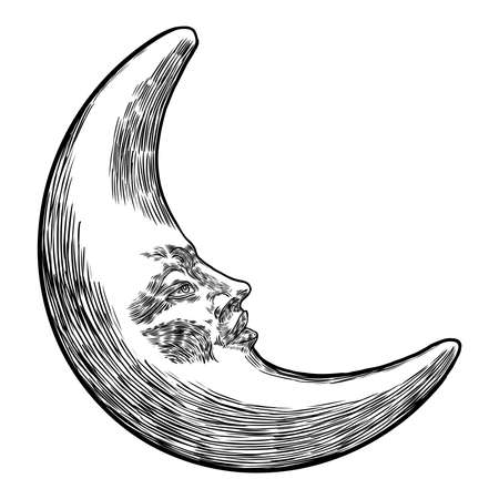 Hand drawn sketch of crescent moon human like face or anthropomorphic planet in black and white, isolated on white. Detailed antique vintage style stipple drawing. Vector.