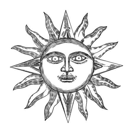 Hand drawn antique style sun with face of the human like. Anthropomorphic flash tattoo or print design Vector.  イラスト・ベクター素材