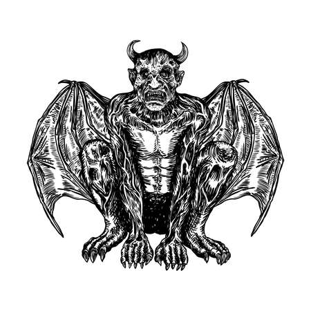 Mythological ancient creatures animals with bat like wings. and horn. Mythical gargoyle with sharp fangs teeth and nails or claws in seating position. Engraved hand drawn sketch. Vector.