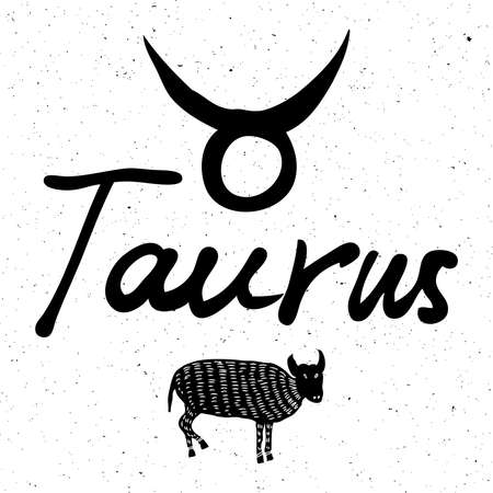 Taurus zodiac hand drawing sign for horoscope. Usable for mystic  occult  palmistry and witchcraft alchemy. Vector. Illustration