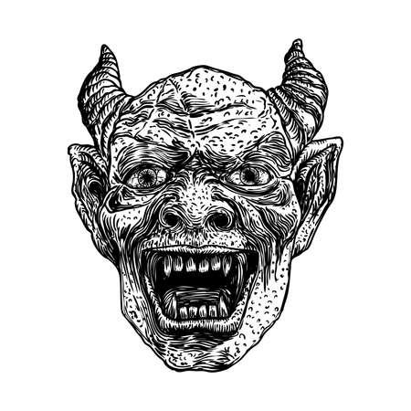 Testa di diavolo con grandi corna o corna di demone e zanne affilate. Raffigurazione dell'angelo caduto di Satana o Lucifero. Gargoyle umano come creatura bestia fantastica chimera con viso scuro spaventoso. Vettore. Vettoriali