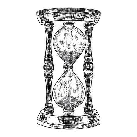 Hourglass or sand clock engraving. Black and white hand drawn sketch, isolated. Vector