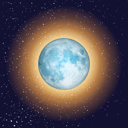 Total eclipse of the sun. Dark blue background with a solar eclipse. Open space with realistic blue moon and stars. Vector