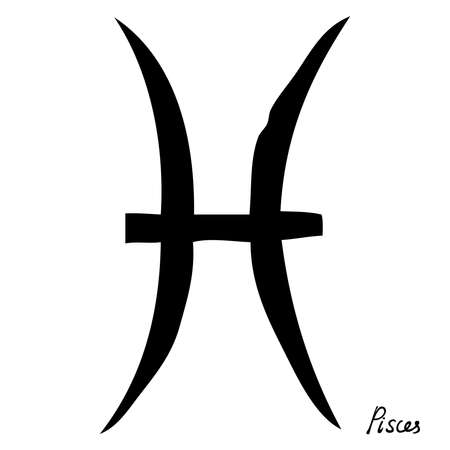 Pisces zodiac hand drawing sign for horoscope. Usable for mystic  occult  palmistry and witchcraft alchemy. Vector.