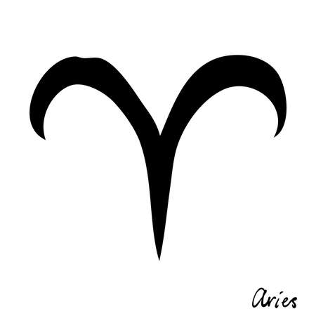Aries zodiac hand drawing sign for horoscope. Usable for mystic  occult  palmistry and witchcraft alchemy. Vector. Stock Illustratie