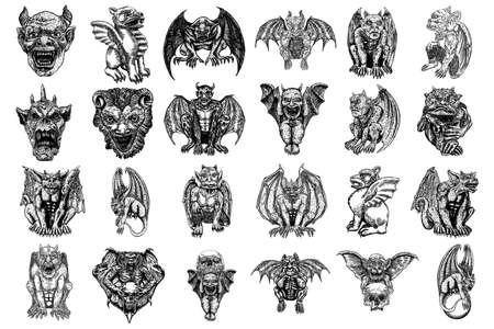 Conjunto de animales de criaturas antiguas mitológicas con alas y cuernos de murciélago. Gárgola mítica con colmillos afilados, dientes y uñas o garras en posición sentada. Boceto dibujado a mano grabado. Vector. Ilustración de vector