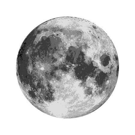 Realistic full moon. Astrology or astronomy planet design. Vector.  イラスト・ベクター素材