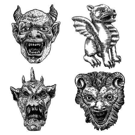 Ensemble de tête de diable avec de grandes cornes ou bois de démon et des crocs pointus. Représentation d'ange déchu de Satan ou de Lucifer. Gargouille humaine comme une bête fantastique chimère avec un visage sombre et effrayant. Vecteur. Vecteurs