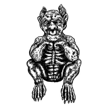 Demon, human like monster creature chimera with fangs horns, and claws. Mystic and occult hand drawn engraved devil vector.