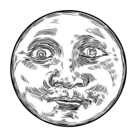 Schizzo disegnato a mano di luna umana come viso o pianeta antropomorfo in bianco e nero, isolato su bianco. Disegno dettagliato dello stipple in stile vintage. Vettore. Vettoriali