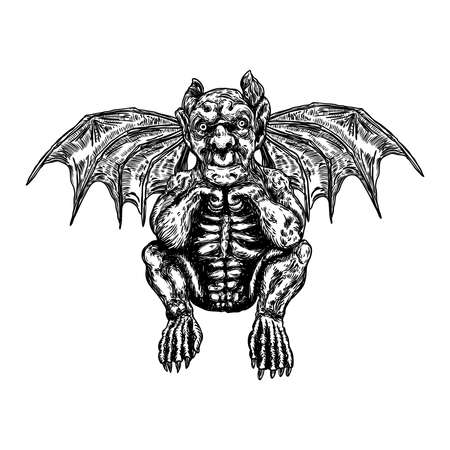 Criaturas antiguas mitológicas animales con alas de murciélago. y cuerno. Gárgola mítica con colmillos afilados, dientes y uñas o garras en posición sentada. Boceto dibujado a mano grabado. Vector.