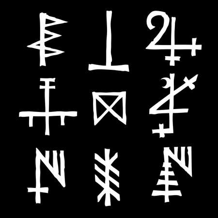 Set of alchemical symbols on the theme of old manuscript with occult lyrics alphabet and symbols. Esoteric written signs inspired by medieval writings. Vector 일러스트