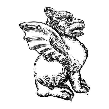 Anciennes créatures mythologiques de gargouille humaine et dragon comme une chimère avec des ailes de chauve-souris. Gargouille mythique aux crocs et griffes acérés en position assise. Croquis dessiné à la main gravé. Vecteur.