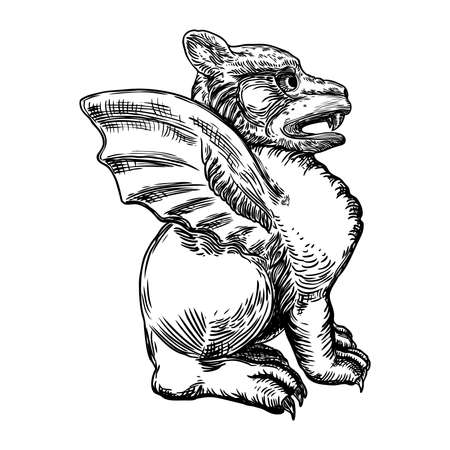Mythological ancient gargoyle creatures human and dragon like chimera with bat wings. Mythical gargouille with sharp fangs and claws in seating position. Engraved hand drawn sketch. Vector. Ilustração