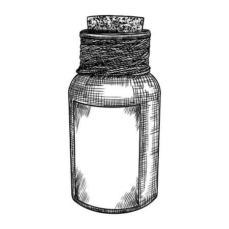 Witchs bottle with magic liquid, line and dot stipple art, hand drawn. Flash tattoo design. Vector